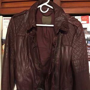 Muubaa burgandy leather jacket
